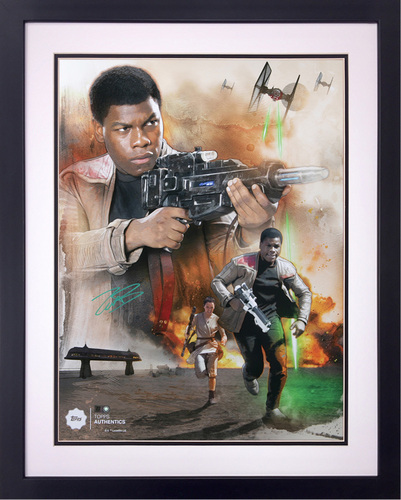 John Boyega as Resistance Hero Finn 16x20 Autographed in Green Ink Framed Photo Collage