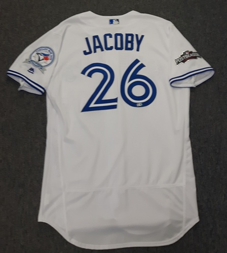 Photo of Authenticated Game Used 2016 Postseason Jersey - #26 Brook Jacoby (October 17: ALCS Game 3). Size 46.