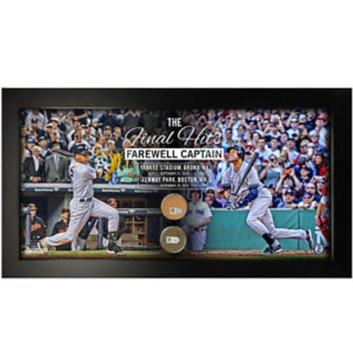 "Photo of Derek Jeter Framed ""The Final Hits Farewell Captain"" 10x20 with Game Used Yankee Stadium Dirt + Fenway Park Game Used Dirt"
