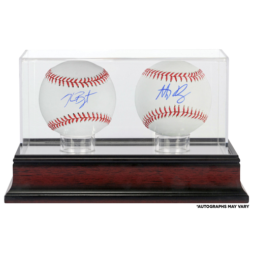 Photo of Anthony Rizzo and Kris Bryant Chicago Cubs Autographed Baseballs and Mahogany Two Baseball Case
