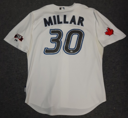 Photo of Authenticated Game Used Jersey - #30 Kevin Millar (July 22, 2009). Size 50
