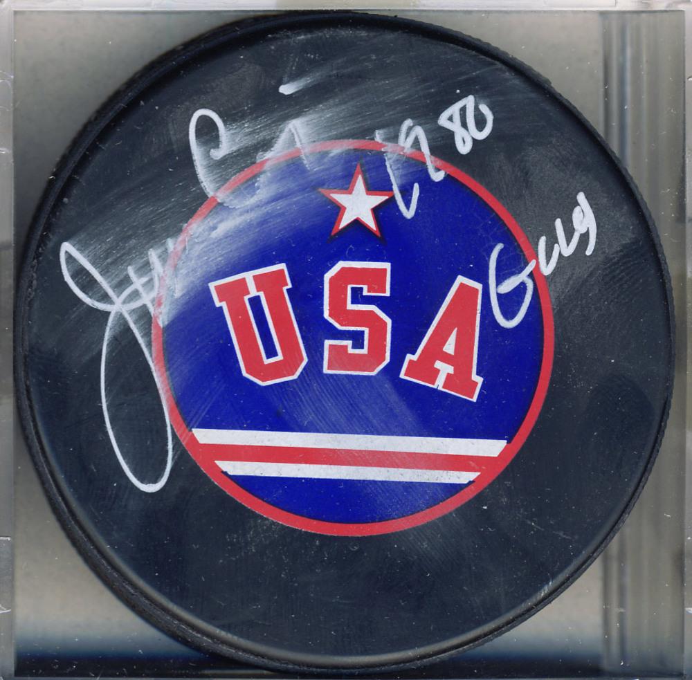 JIM CRAIG 1980 Team USA Autographed Hockey Puck w '1980 Gold' Inscription *Autograph Slightly Damaged*