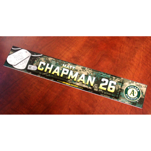 Photo of Matt Chapman 2018 Team Issued Memorial Day Locker Nameplate