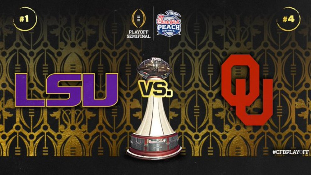 LSU vs Oklahoma - College Football Playoff Semi Final Experience- Peach Bowl - Experience for 2 - Game is in Atlanta at Mercedes-Benz Stadium on 12.28.19-- Includes a signed football from an alumni NFL player from either LSU or Oklahoma