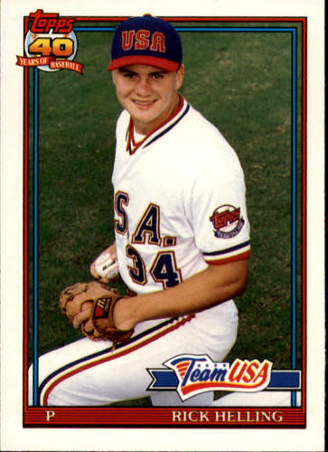 Photo of 1991 Topps Traded #54T Rick Helling USA UER RC (Misspelled Hellings on card back)