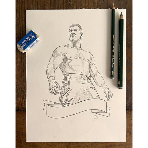 Photo of Jonathan Bartlett Signed Eddie Guerrero Art Print Sketch