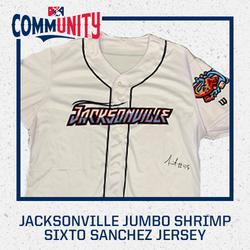 Photo of Sixto Sanchez Autographed Jacksonville Jumbo Shrimp Jersey