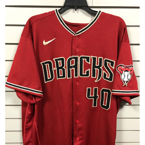 Photo of 3-Time World Series Champion Madison Bumgarner 2020 Team-Issued Red Alternate Jersey - Size 50