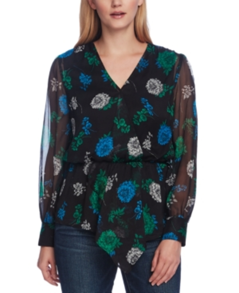 Photo of Vince Camuto Floral-Print Cinched-Waist Top