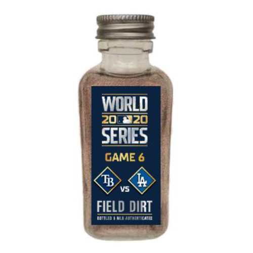 Photo of Game-Used Dirt Jar - 2020 World Series - Tampa Bay Rays v. Los Angeles Dodgers - Game 6 - Los Angeles Dodgers Clinch World Series Championship