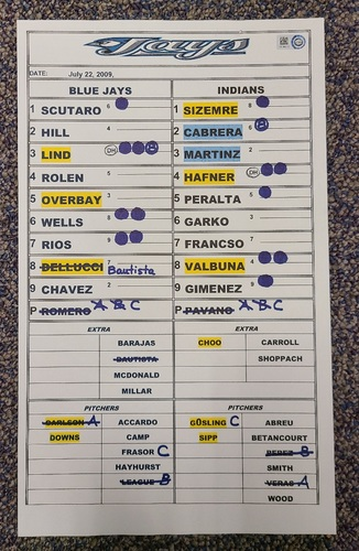 Photo of Authenticated Team Issued Lineup Card (July 22, 2009 vs CLE): 2 Home Run Game by Marco Scutaro