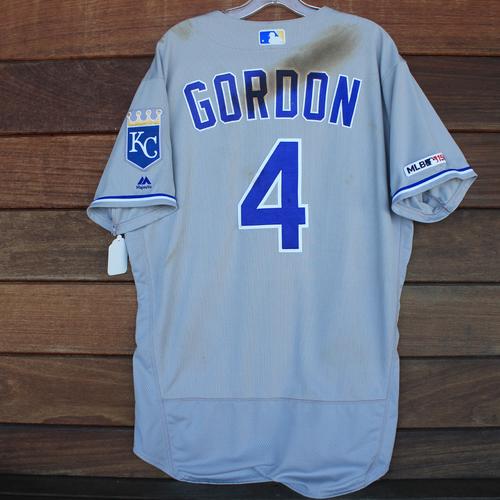 Photo of Game-Used 2019 Jersey: Alex Gordon #4 - 2 for 4 (Single, Single) (KC@BAL 8/21/19) - Size 46