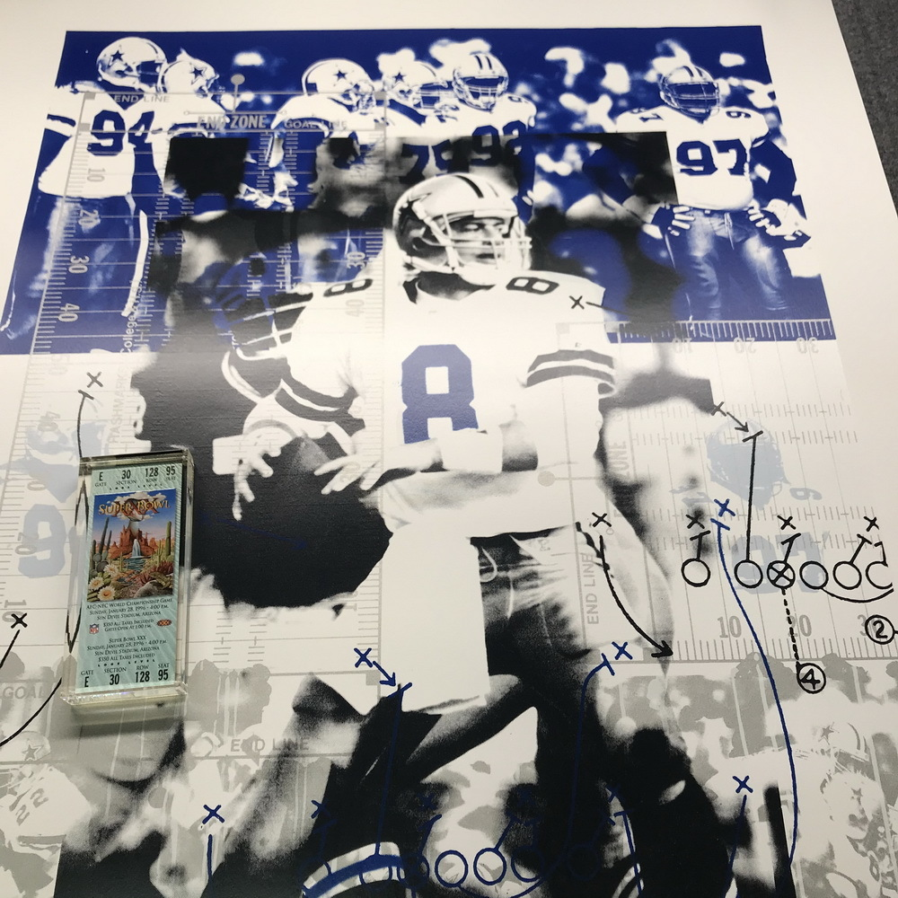Cowboys Bundle - TROY AIKMAN SIGNED POSTER + SUPER BOWL XXX Green PAPERWEIGHT