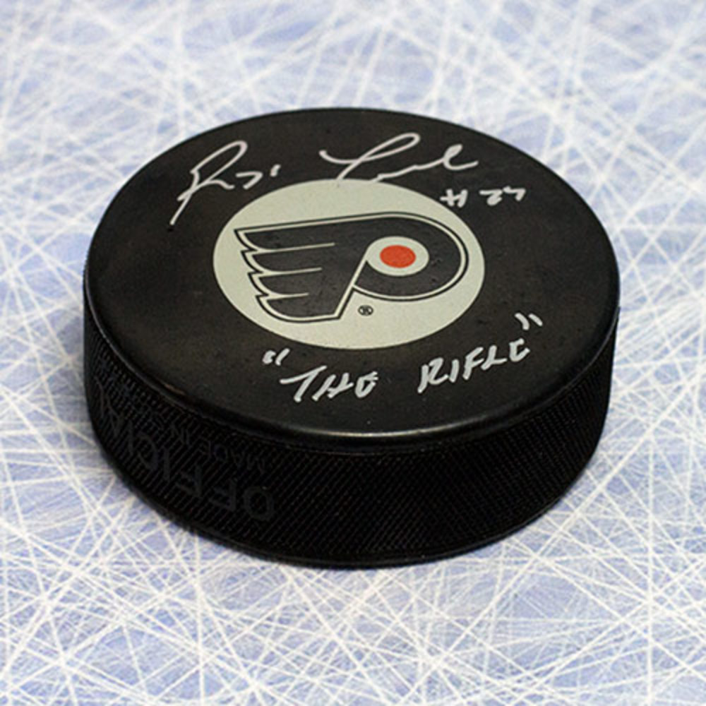 Reggie Leach Philadelphia Flyers Autographed Hockey Puck with The Rifle Note