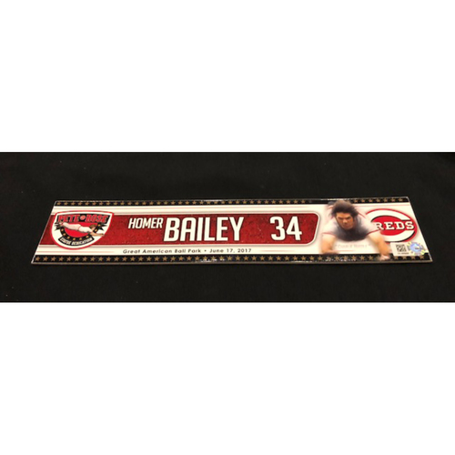 Photo of Homer Bailey -- Team-Issued Locker Tag -- Used for Pete Rose Statue Dedication on 6/17/17
