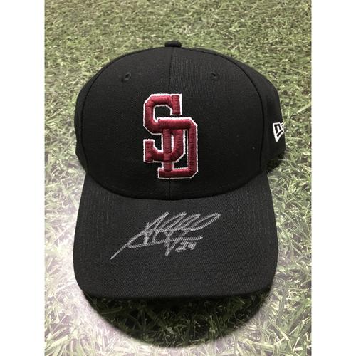 Photo of Jesus Aguilar Autographed, Game Worn Stoneman Douglas Eagles Cap