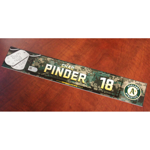 Photo of Chad Pinder 2018 Team Issued Memorial Day Locker Nameplate