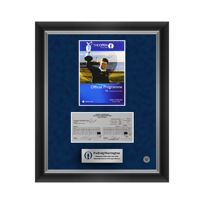 3 of 500 L/E Padraig Harrington, The 137th Open Final Round Scorecard and 2009 Programme Cover Reproductions Framed