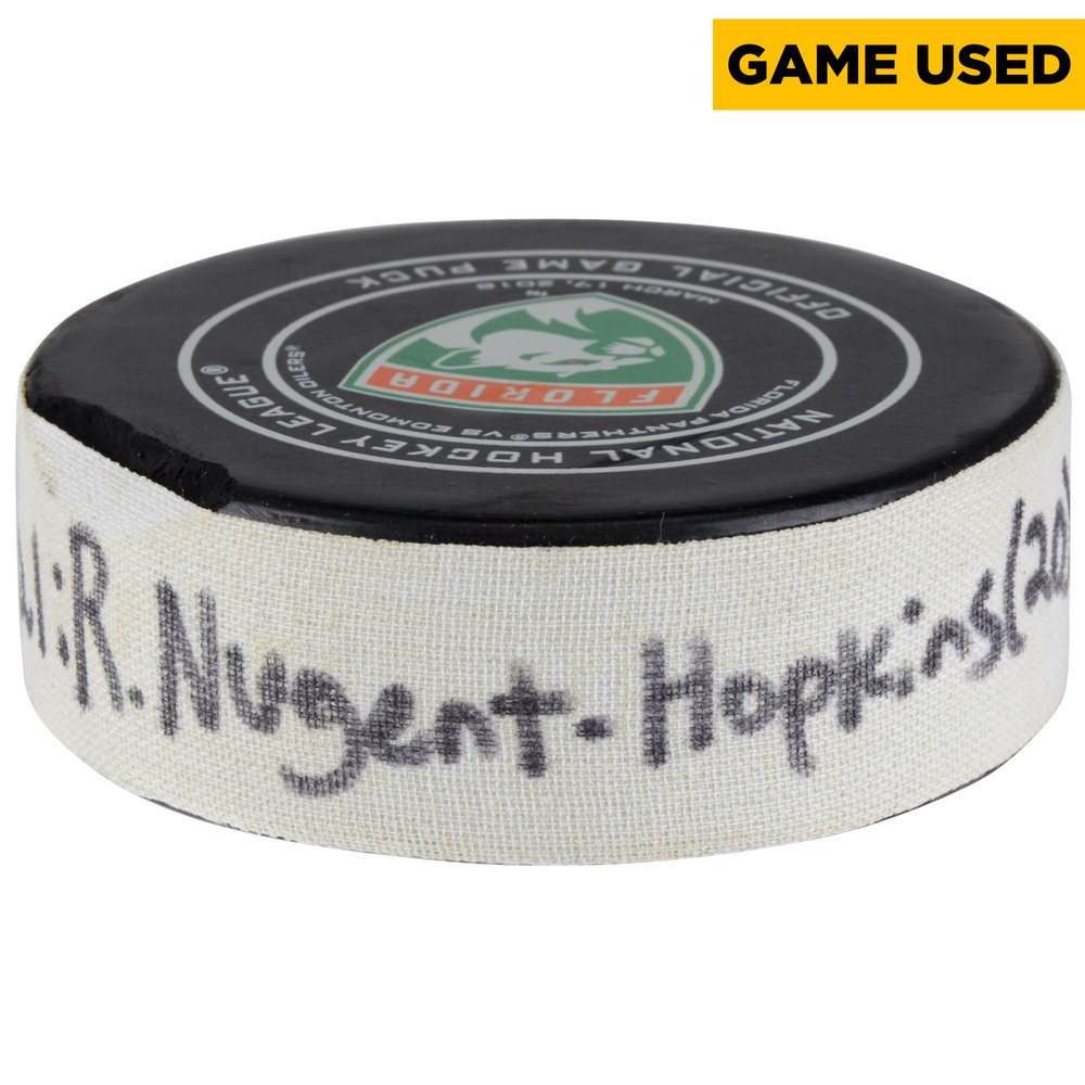 Ryan Nugent-Hopkins Edmonton Oilers Game-Used Goal Puck from March 17, 2018 @ Florida Panthers