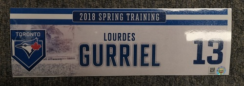 Photo of Authenticated Game Used Locker Tag - #13 Lourdes Gurriel Jr. (2019 Spring Training in Montreal)