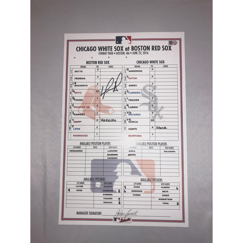 Photo of David Ortiz Autographed June 22, 2016 Game Used Lineup Card - Chicago White Sox vs. Boston Red Sox