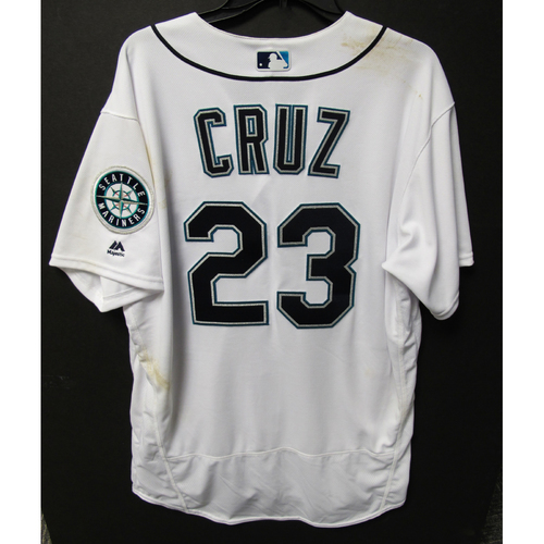 Photo of Nelson Cruz Game-Used Home White Jersey - Rockies vs. Mariners - 7/7/18