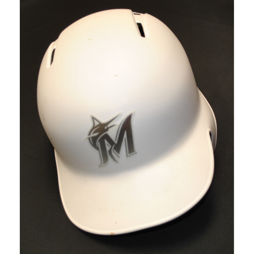"Photo of Austin ""DEAN MACHINE"" Dean Miami Marlins Game-Used 2019 Players' Weekend Helmet"