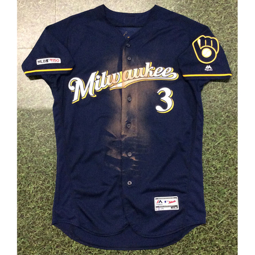 Photo of Orlando Arcia 09/22/19 Game-Used Navy Ball & Glove Jersey - 15th HR of 2019