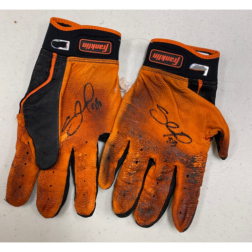 Photo of Team Issued Autographed Black & Orange Franklin Batting Gloves signed by #48 Pablo Sandoval