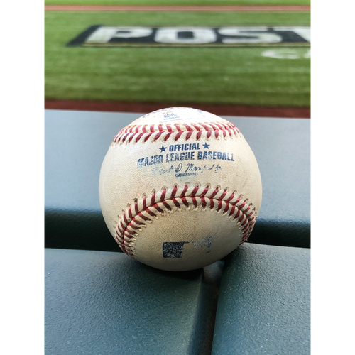 Photo of Game-Used Baseball - 2020 NLCS - Los Angeles Dodgers vs. Atlanta Braves - Game 3 - Pitcher: Kyle Wright, Batter: Will Smith (RBI Double, Seager Scores) - Top 1