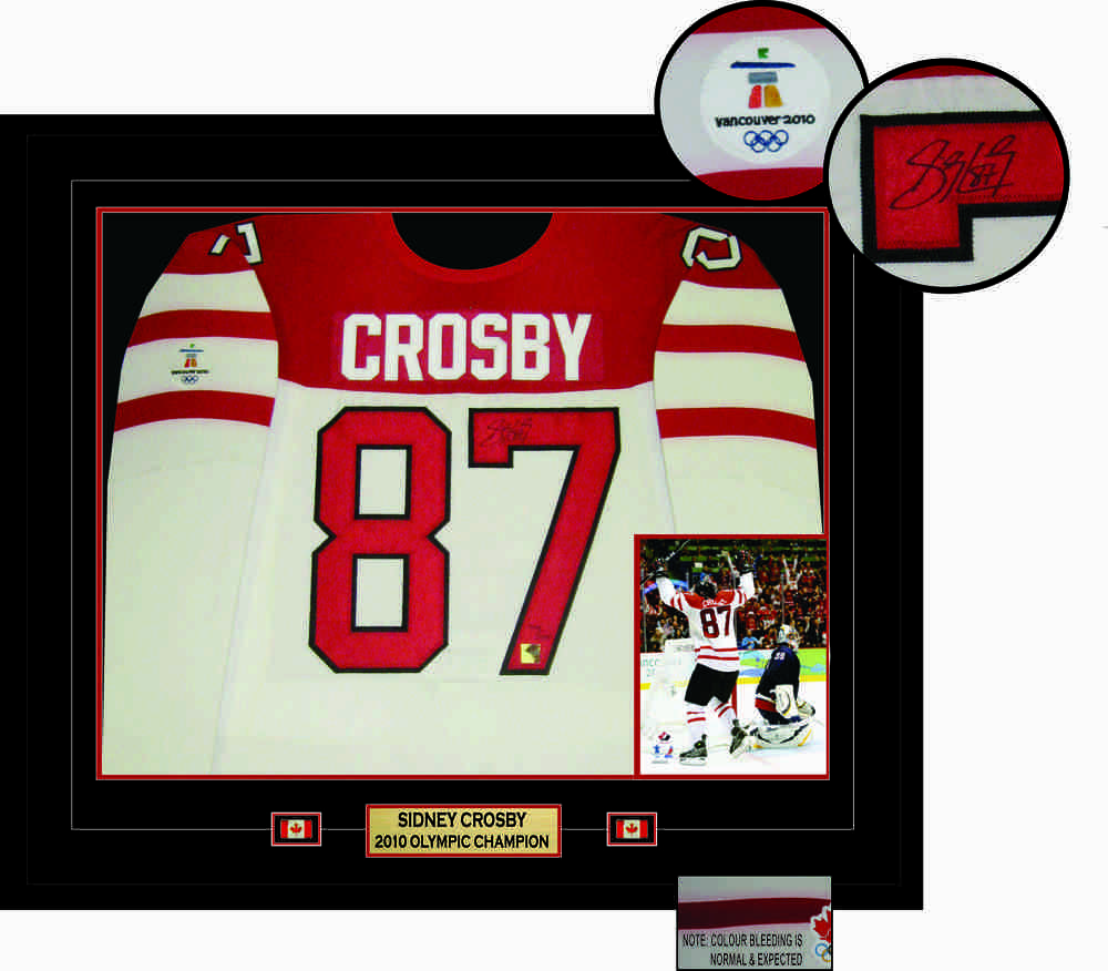 Sidney Crosby - Signed & Framed Jersey - Game Model Team Canada White 2010 Olympics