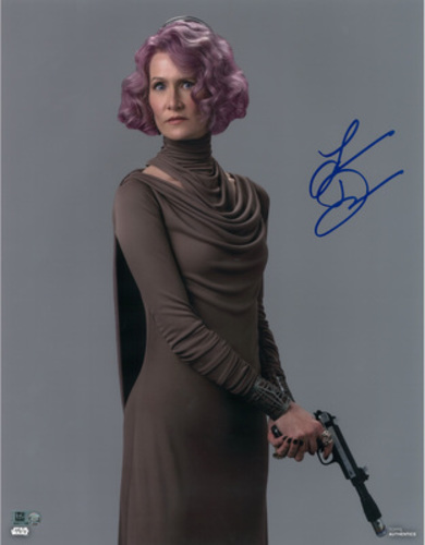 Laura Dern as Vice Admiral Holdo Autographed in Blue Ink 8x10 Photo