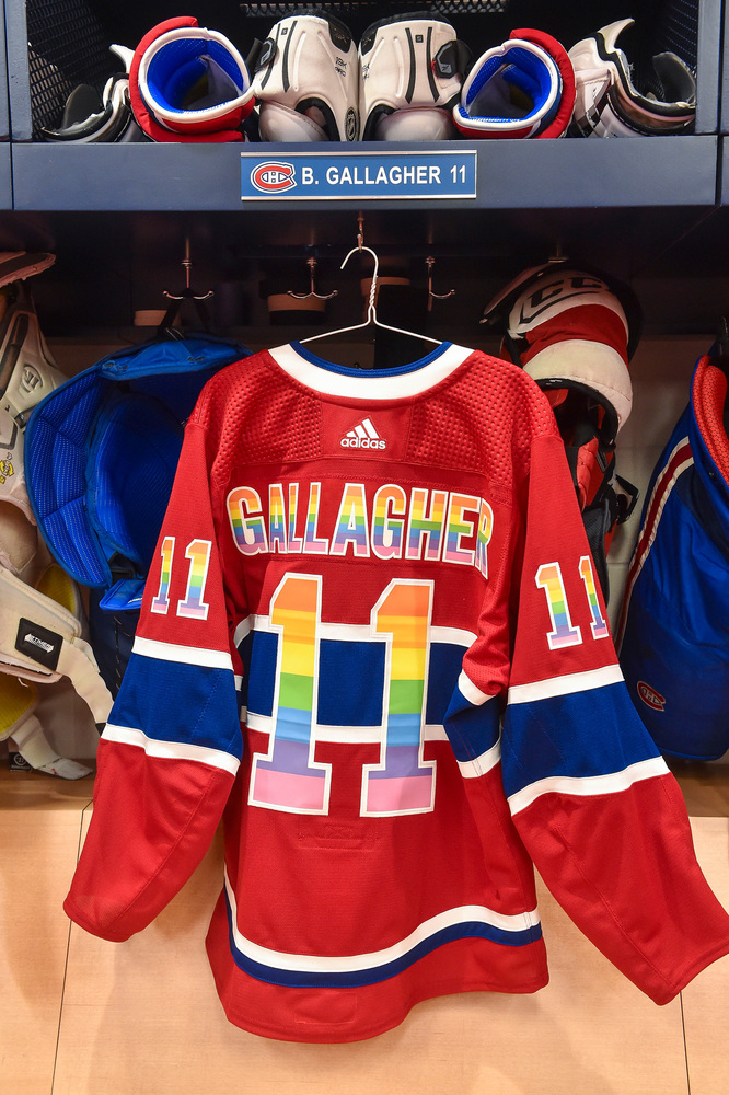 quality design 8129d a391e 11 Brendan Gallagher Warm-Up Worn and Autographed Rainbow ...