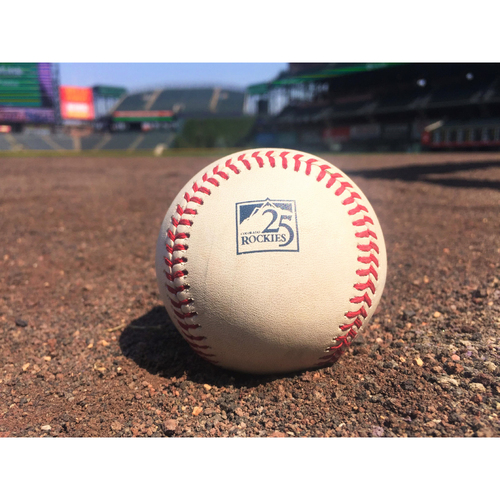 Photo of Colorado Rockies Game-Used Baseball - Ottavino v. Puig - Single to Parra. - August 12, 2018