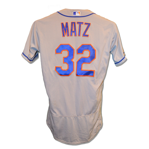 Photo of Steven Matz #32 - Game Used Road Grey Jersey - Earns 2nd Win of 2017; 7 IP, 4 K's - Mets vs. Marlins - 6/28/17