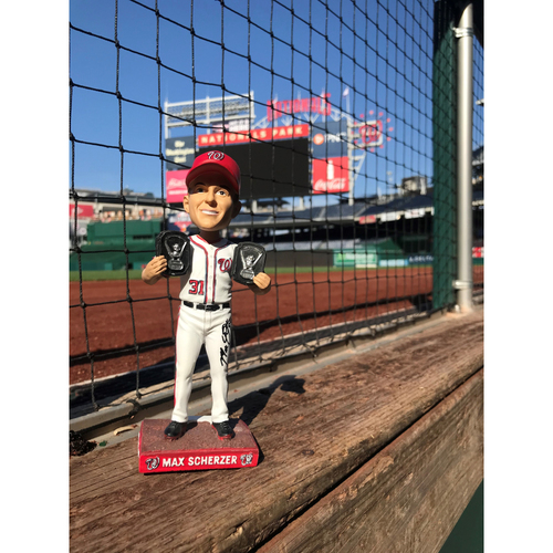 Photo of Max Scherzer Autographed Cy Young Bobblehead
