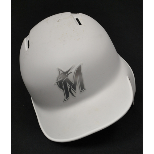 "Photo of Brian ""ANDY"" Anderson Miami Marlins Game-Used 2019 Players' Weekend Helmet"
