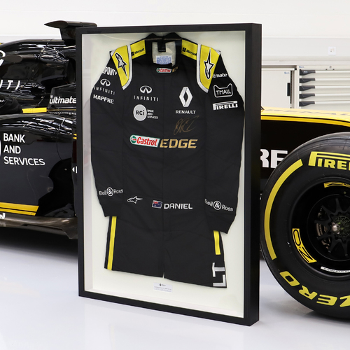 Photo of Daniel Ricciardo Framed 2019 Signed Race-Worn Race Suit - Renault F1 Team