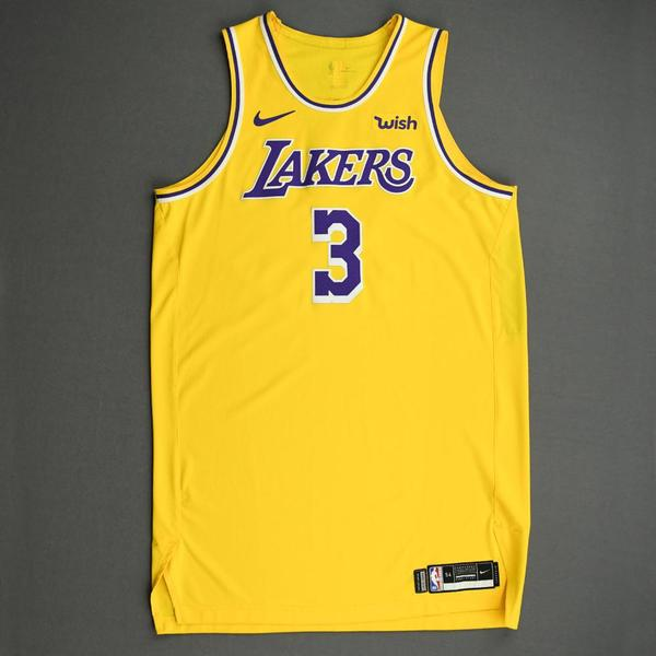 Image of Anthony Davis - Los Angeles Lakers - NBA China Games - Game-Worn Icon Edition Jersey - Worn 2 Games - 2019-20 NBA Season