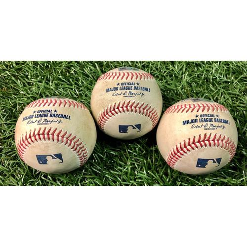Photo of Game Used Baseball Package: Yoshitomo Tsutsugo, Jose Martinez and Joey Wendle - August 22, 2020 v TOR