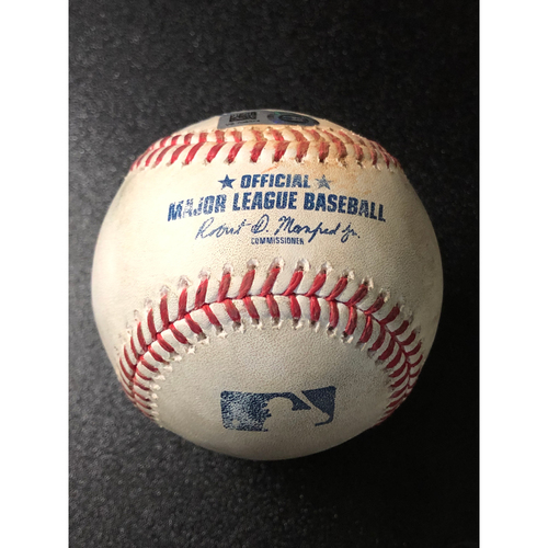 Photo of Game-Used Baseball - 2020 NLCS - Los Angeles Dodgers vs. Atlanta Braves - Game 3 - Pitcher: Grant Dayton, Batters: Mookie Betts (Walk), Corey Seager (RBI Single, Taylor Scores) - Top 1
