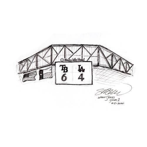 "Photo of "" Final Score"" - World Series Original Art at Game 2 by S. Preston"
