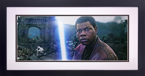 John Boyega as Finn 14x34 Autographed in Blue Ink Framed Panorama at the Battle of Takodana