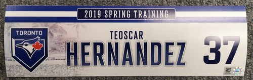 Photo of Authenticated Game Used Locker Tag - #37 Teoscar Hernandez (2019 Spring Training in Montreal)