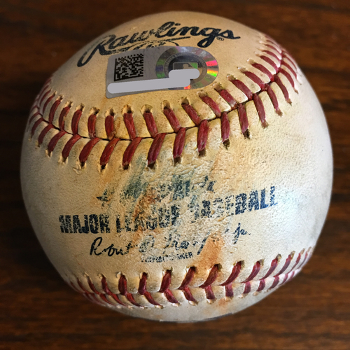 Photo of Game-Used Baseball: Pitcher Will Harris, Batters: Alex Gordon (Single), Hunter Dozier (Single) - Top 8 - 5/6/19 vs. KC