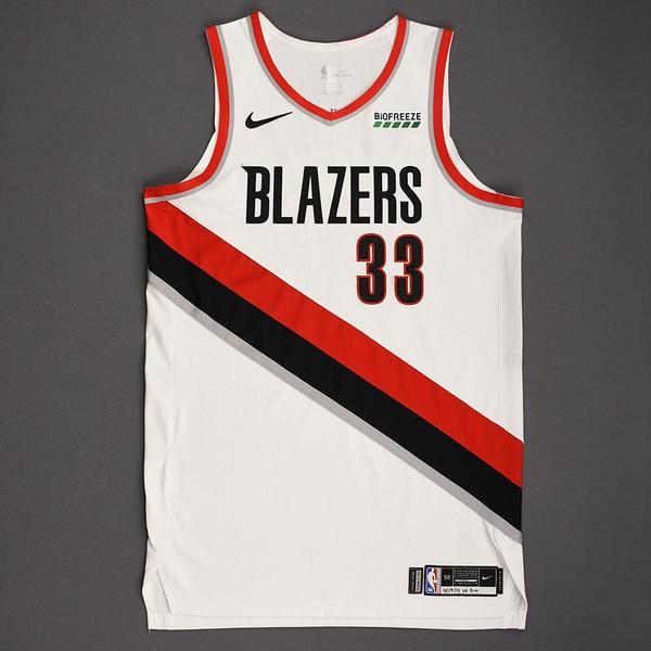 Image of Zach Collins - Portland Trail Blazers - Kia NBA Tip-Off 2019 - Game-Worn Association Edition Jersey