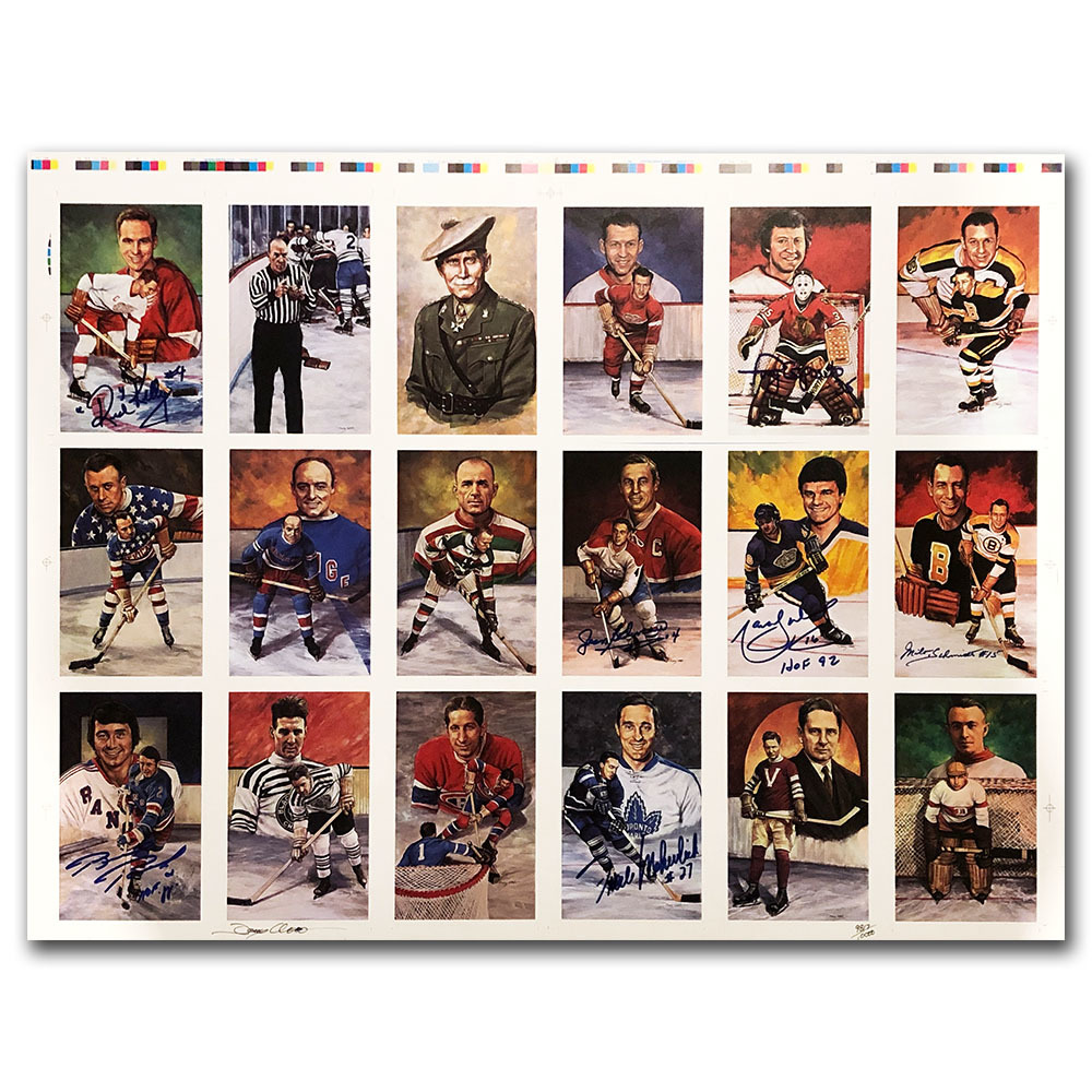 RARE Legends of Hockey Uncut Card Sheet Autographed by Beliveau, Kelly, Schmidt & More