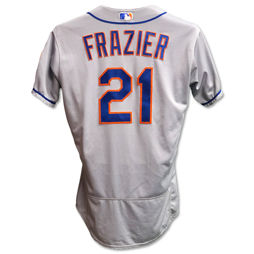 Photo of Todd Frazier #21 - Game Used Road Grey Jersey - Mets vs. Yankees - 6/11/19