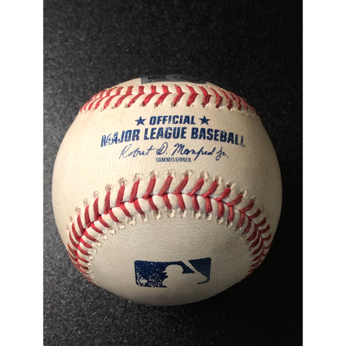 Photo of Game-Used Baseball - 2020 NLCS - Los Angeles Dodgers vs. Atlanta Braves - Game 3 - Pitcher: Kyle Wright, Batter: Mookie Betts (Infield Single, Dodgers challenge, call on field overturned) - Top 1