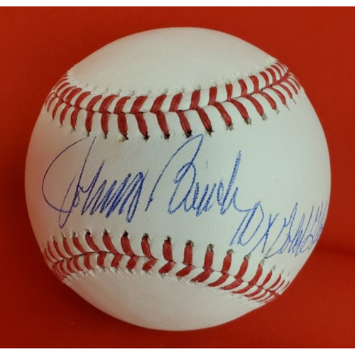 "Photo of Johnny Bench Autographed Baseball with Inscription ""10x Gold Glove"""